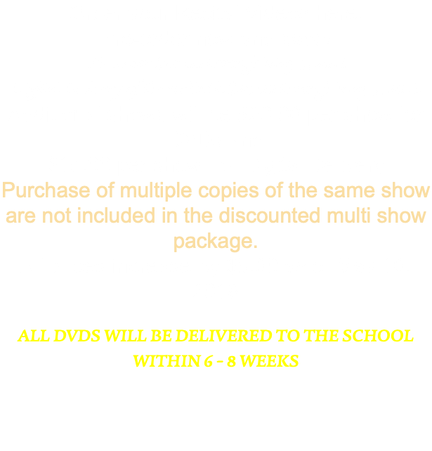 Order your Recital Videos here. Pre-order now and save! DVDs are $30.00 through May 9, 2018 Digital Delivery of the recital is $25.00 through May 9, 2018 Additional shows will be $20.00 per show for DVDs and $15.00 per show for Digital Delivery Purchase of multiple copies of the same show are not included in the discounted multi show package. All prices increase by $5.00 as of May 10, 2018 All DVDs will be delivered to the school within 6 - 8 Weeks